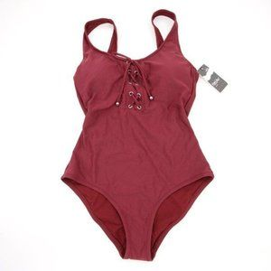 NWT Cranberry Mossimo Once Piece Tie Front S